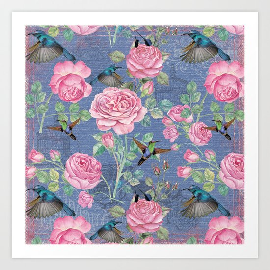 Vintage Watercolor hummingbird and English Roses on blue Background Art Print