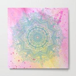pink splash mandala Metal Print