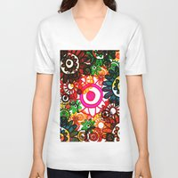 hippy V-neck T-shirts featuring Hippy Shake! by Charlotte Douthwaite