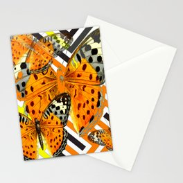 CONTEMPORARY  BUTTERFLIES ORANGE-YELLOW GRAPHIC ART Stationery Cards