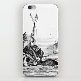 1810 vintage nautical octopus steampunk kraken sea monster drawing print Denys de Montfort retro iPhone Skin