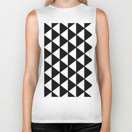 Black And White Triangles Pattern Biker Tank
