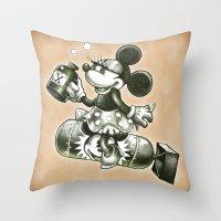 bombs away Throw Pillows featuring BOMBS AWAY by Tim Shumate