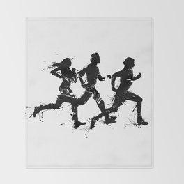 Runners in ink Throw Blanket