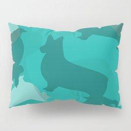 Blue Corgi Pattern Pillow Sham