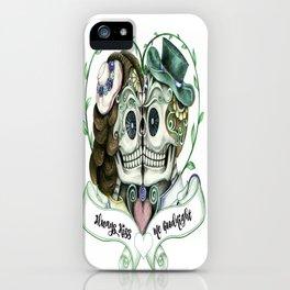 Skull Couple Always Kiss Me Goodnight iPhone Case