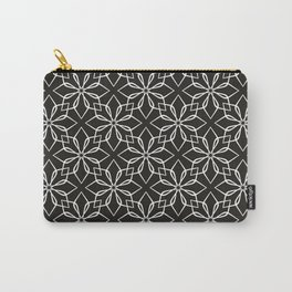 Black and white pattern with geometrical flower. Carry-All Pouch