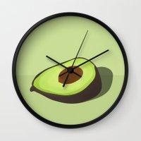 avocado Wall Clocks featuring AVOCADO by PixiFactory