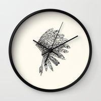 indian Wall Clocks featuring Indian by Andrea Eedes