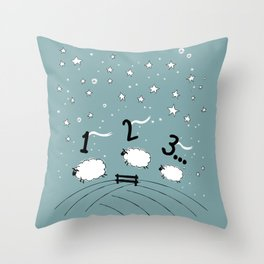 Counting Sheep I: 1 2 3 Counting Sheep Throw Pillow