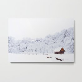 Cabin in the Snow (Color) Metal Print