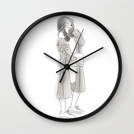 Pretty Woman with Wavy Hair Wearing Grey Long Coat, Sneakers and Hand Bag Wall Clock