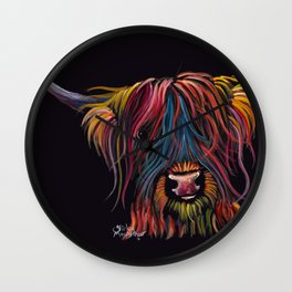 Scottish Hairy Highland Cow ' SWEET P ' by Shirley MacArthur Wall Clock