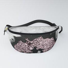 Gray Black White Agate with Rose Blush Pink Glitter #1 #gem #decor #art #society6 Fanny Pack
