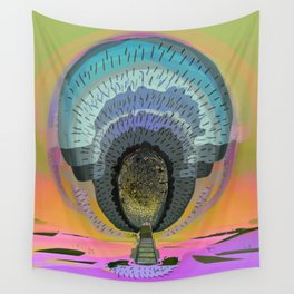 Tree Cactus in Bloom at Dawn Wall Tapestry