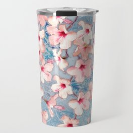 Shabby Chic Hibiscus Patchwork Pattern in Pink & Blue Travel Mug