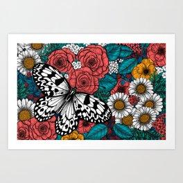 Paper kite garden Art Print