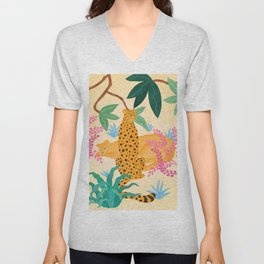 Panthers in Magical Garden Unisex V-Neck