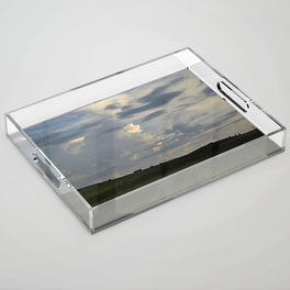 Sunset Cloudscape Rolling Hills Hay Rolls Acrylic Tray
