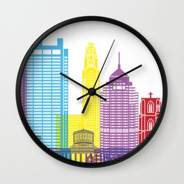 Columbus skyline pop Wall Clock