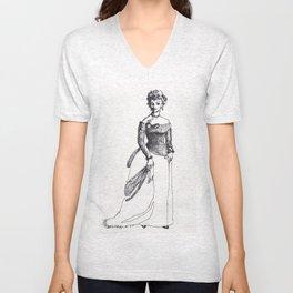 Fashion Illustration--vintage fashion 19th-century Victorian Unisex V-Neck