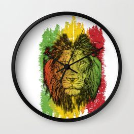 Rasta Jamaican Lion Gift for Rastafari & Reggae music fans graphic Wall Clock