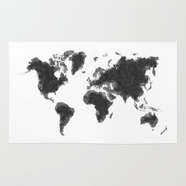 World Map Black Sketch, Map Of The World, Wall Art Poster, Wall Decal, Earth Atlas, Geography Map Rug