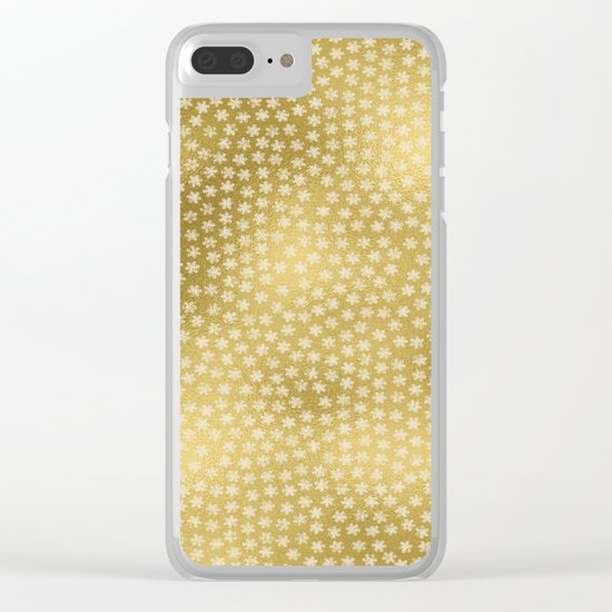 Merry christmas- white winter stars on gold pattern Clear iPhone Case