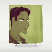 scott pilgrim Shower Curtains featuring Scott by The Art of Nicole
