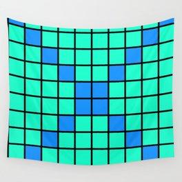 Aqua and Blue Grid Wall Tapestry