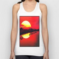 duvet cover Tank Tops featuring Sunset duvet cover by customgift