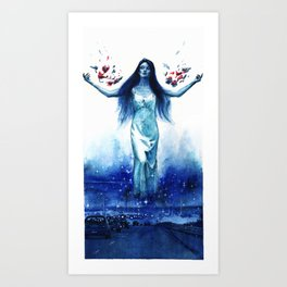 Blue Orchids Art Print