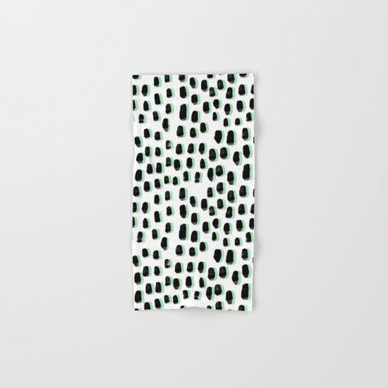 Shift pattern mint pastel black and white minimal dots painting brushstrokes modern art dorm college Hand & Bath Towel