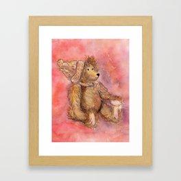 Teddy bear in cap and scarf Framed Art Print