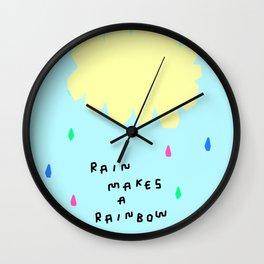 Rain Makes A Rainbow no.3 - colorful illustration Wall Clock