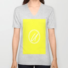 Monogram - Letter U on Electric Yellow Background Unisex V-Neck