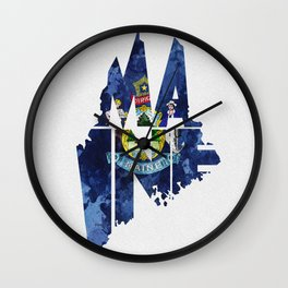 Maine Typographic Flag Map Art Wall Clock