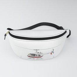 White and Red Helicopter Fanny Pack