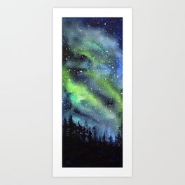 Galaxy Nebula Watercolor Northern Lights Aurora Borealis Art Print