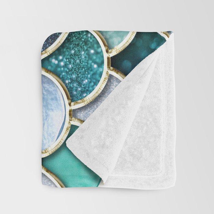 Multicolor Aqua Mermaid Scales - Beautiful Abstract Glitter Pattern Throw Blanket