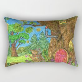 The hedgehog is drinking tea near his house in the fairy forest. Rectangular Pillow
