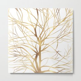 Modern Gold Tree Silhouette Minimal White Design Metal Print