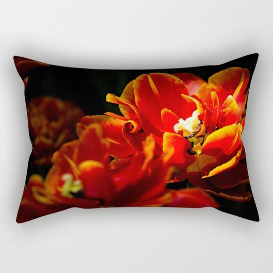 Red tulips dark background Rectangular Pillow