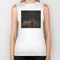 red riding hood Biker Tanks featuring Red Riding Hood by Viggart