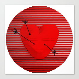 Abstract composition of a heart-shaped target. Canvas Print