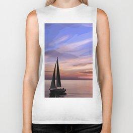 Sailing at sunset Biker Tank