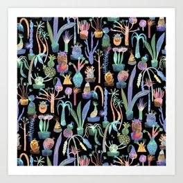 Nocturnal lush garden - Dreamy cacti and succulents plants Art Print