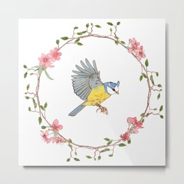 Flying bird and flowers Metal Print