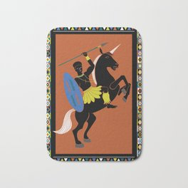African Warrior on Black Unicorn Bath Mat