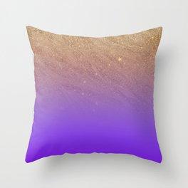 Elegant gold faux glitter chic purple gradient pattern Throw Pillow